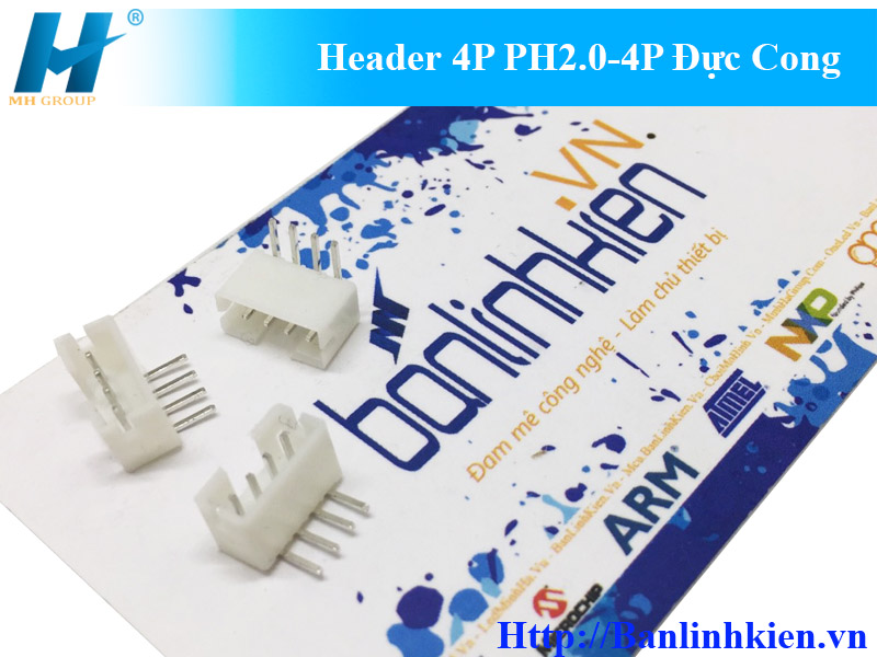 Header 4P PH2.0-4P Đực Cong
