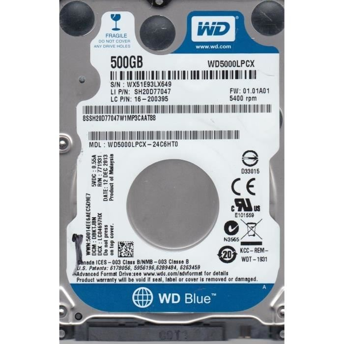 Western Digital Blue 500GB 2.5'' 5400Rpm 16M FOR NOTEBOOK