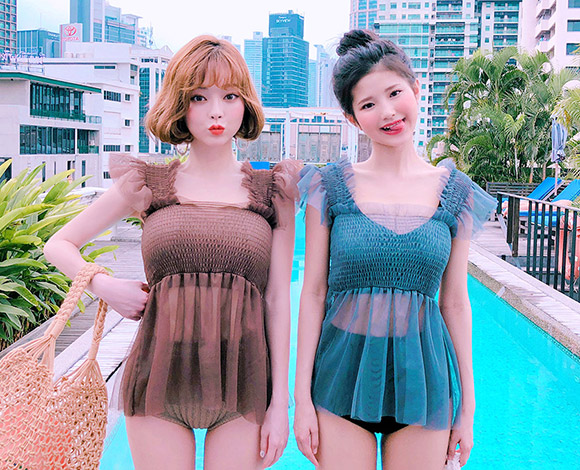 CHUU [CHUU MADE] See Though Flare Top