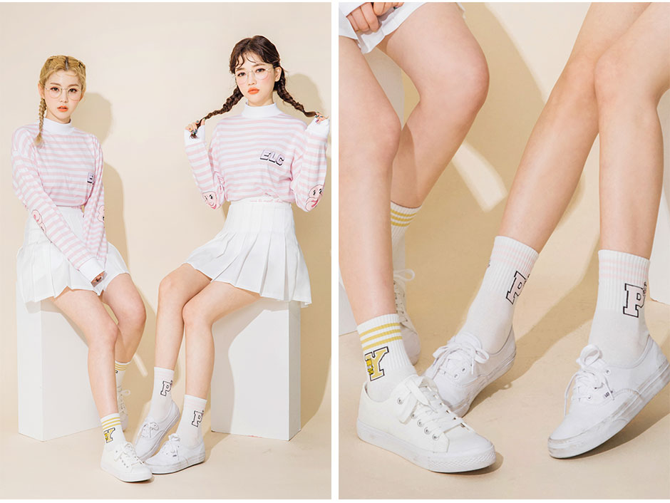 CHUU Look Ankle Letters Socks