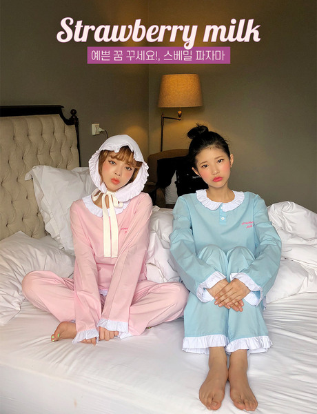 CHUU Strawberry Milk Baby Strawberry Pajama Set