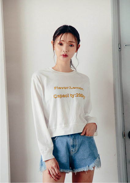 CHUU Lemon Color Lettering Top