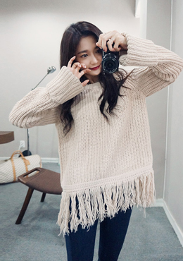 CHUU Move My Heart Fringed Knit Sweater