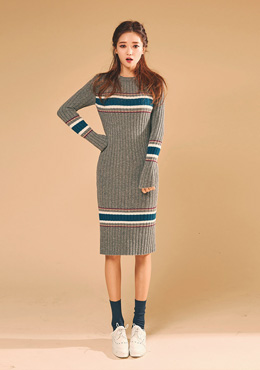 CHUU Ribbed Long Knit Dress