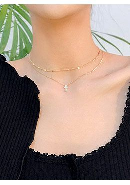 CHUU Christ Double Necklace