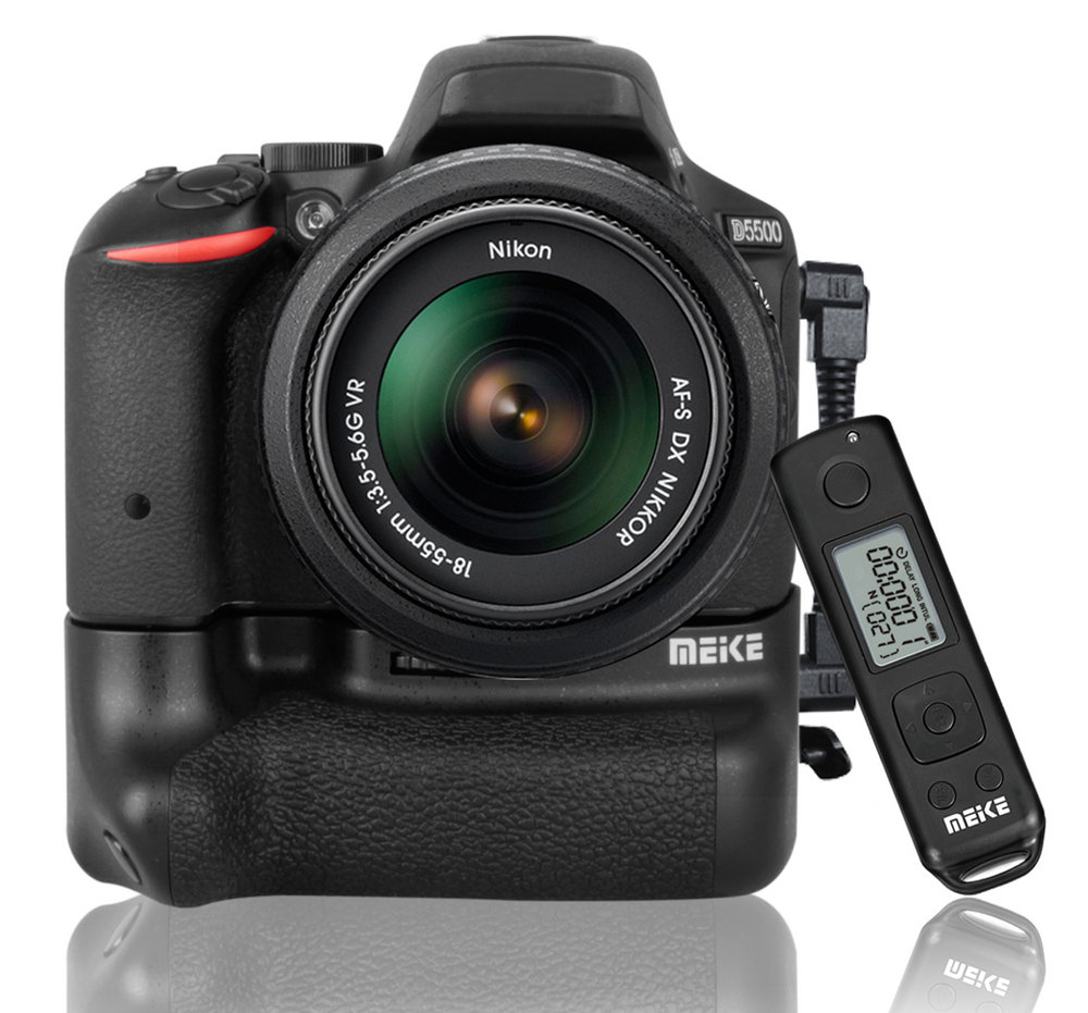Meike battery grip DR-5500 pro for Nikon D5500 - Timelapse 2.4Ghz remote control