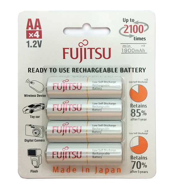 Pin AA FUJITSU - 2100 lần sạc Type 2000maH - Made in Japan - Vỉ 4