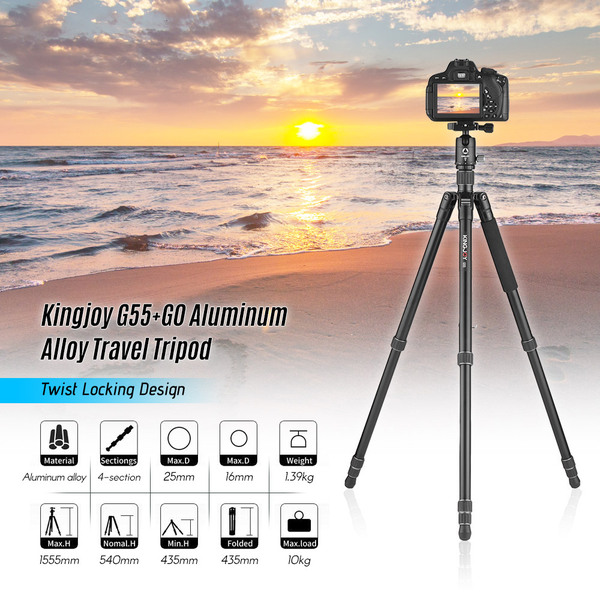 Kingjoy G55+G0 Aluminum Alloy Travel Tripod Monopod with Panoramic Ball head