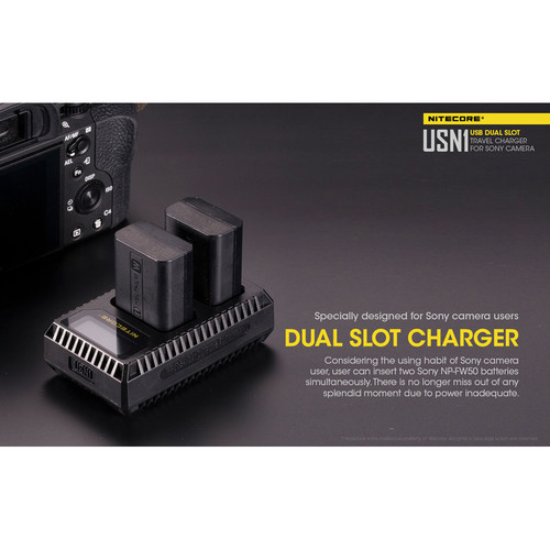 Sạc Nitecore USN1 Dual-Slot USB Travel Charger for Sony NP-FW50 Lithium-Ion Batteries