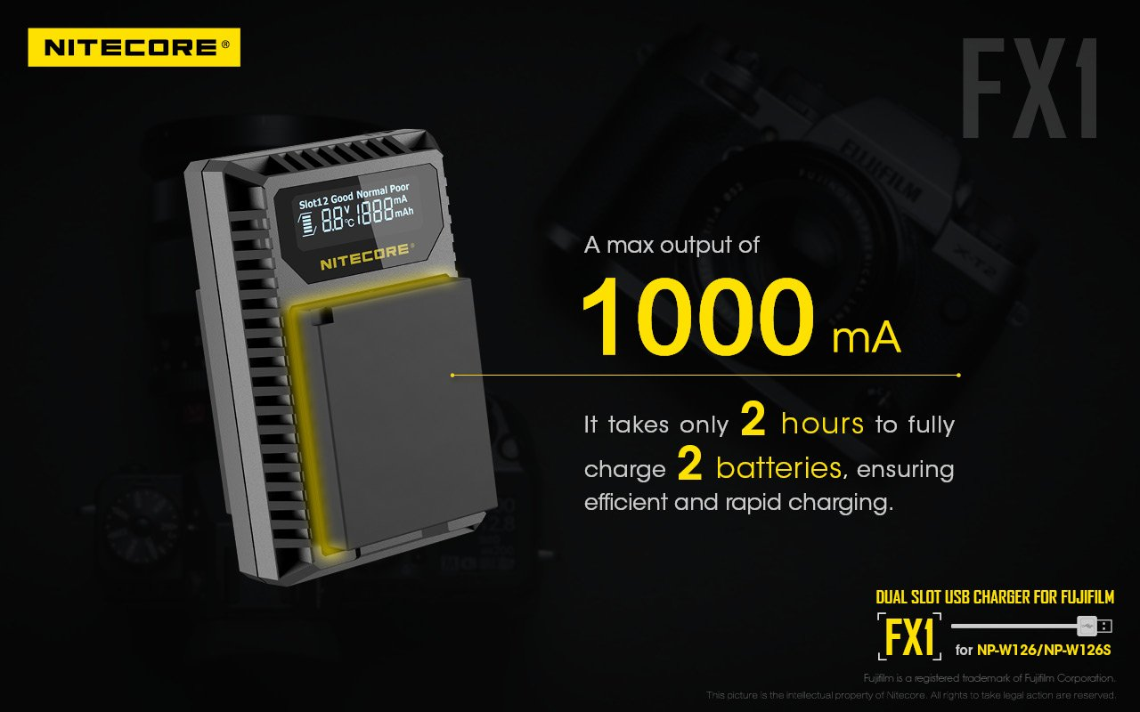 Sạc NITECORE FX1 Digital USB Camera Battery Charger Compatible with Fujifilm NP-W126 and NP-W126S Batteries