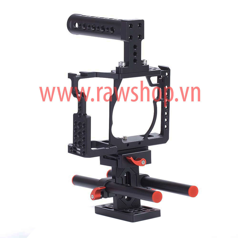Small rig aluminium fit Sony A7, A7s, A7r with Handle grip và base plate