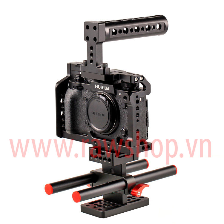 Small rig aluminium fit Fujifilm X-T2 with Handle grip và base plate