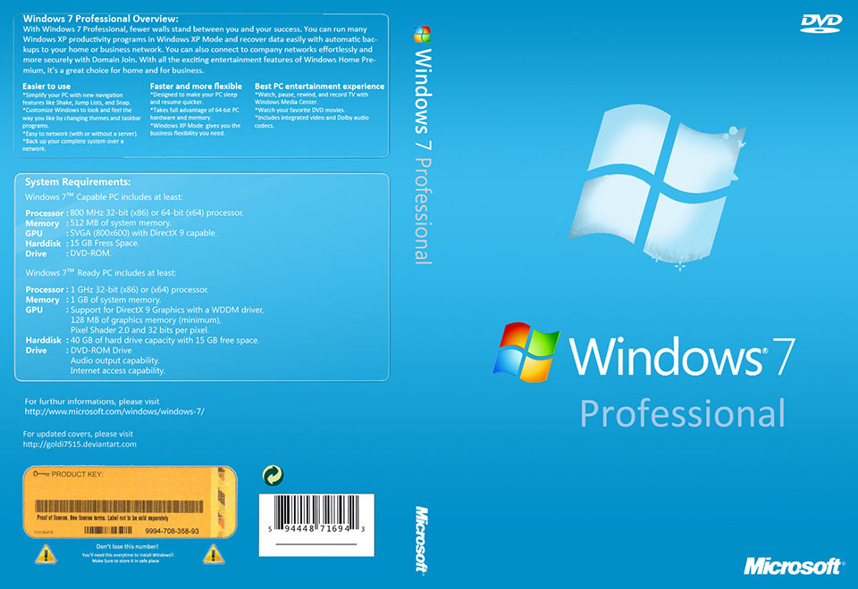 windows 7 pro 64bit