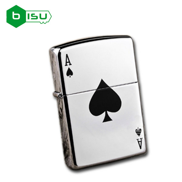 Zippo 24011 - Vỏ Chrome trơn nhẵn hình Át bích may mắn (Lucky Ace High Polish Chrome Pocket Lighte)