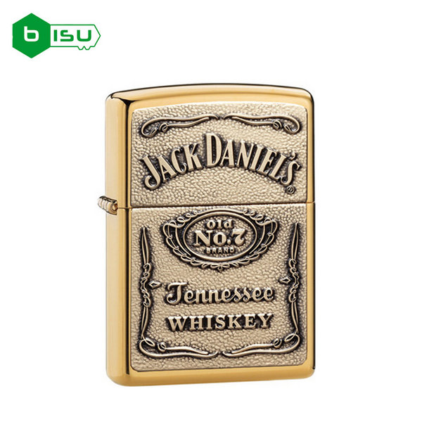 Zippo 254BJD - Vỏ Đồng thau Jack Daniel (Jack Daniel's Label Brass Emblem Pocket Lighter)