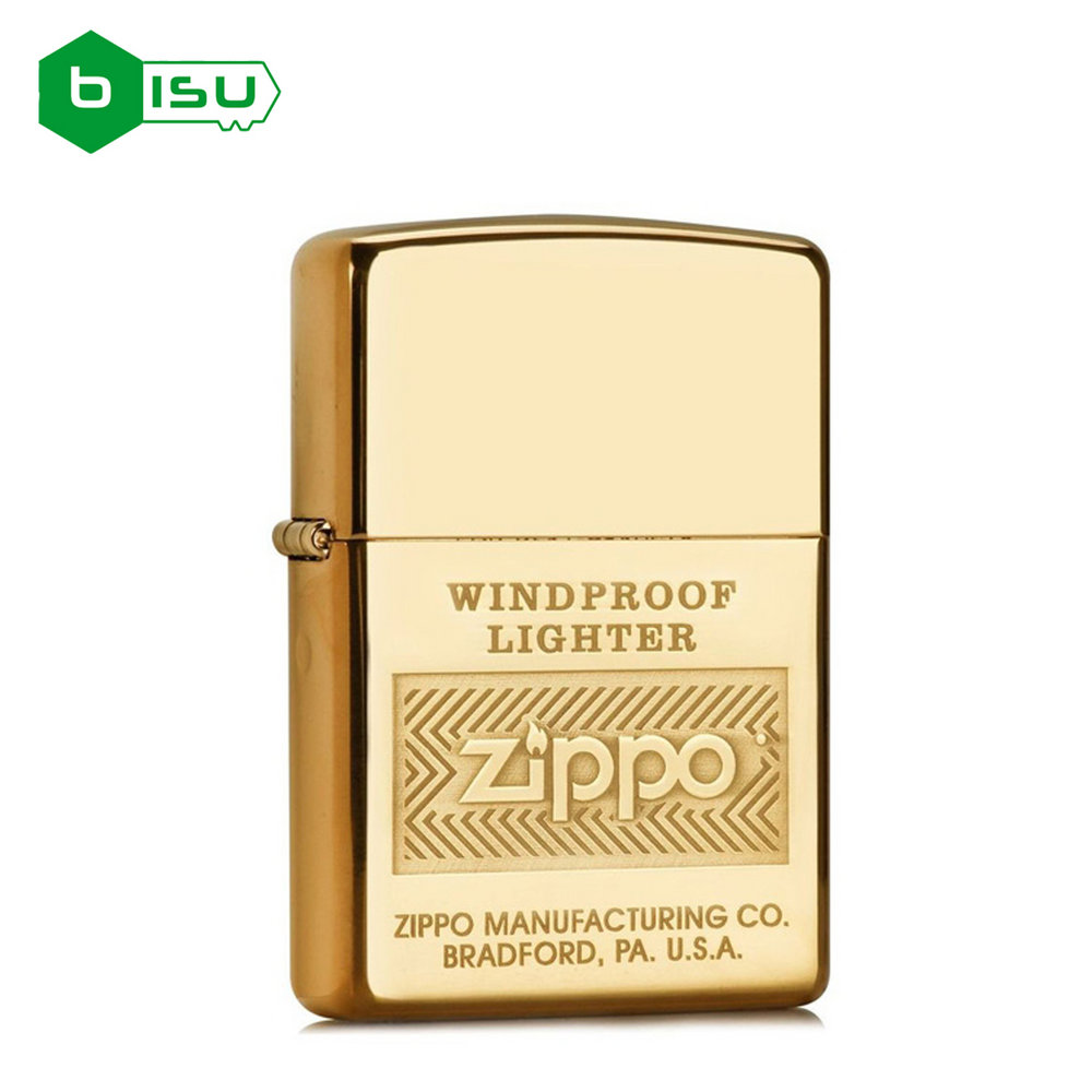 Zippo 28145 - Vỏ Đồng thau Windproof (Windproof Logo High Polish Brass Lighter)