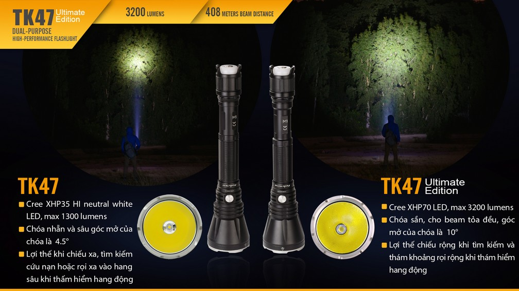 Đèn pin Fenix - TK47 UE - 3200 Lumens (Ultimate Edition)