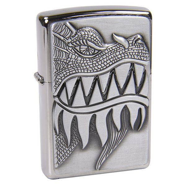 Zippo 28969 - Vỏ Chrome Hình Hàm Rồng (Dragon Design Brushed Chrome)