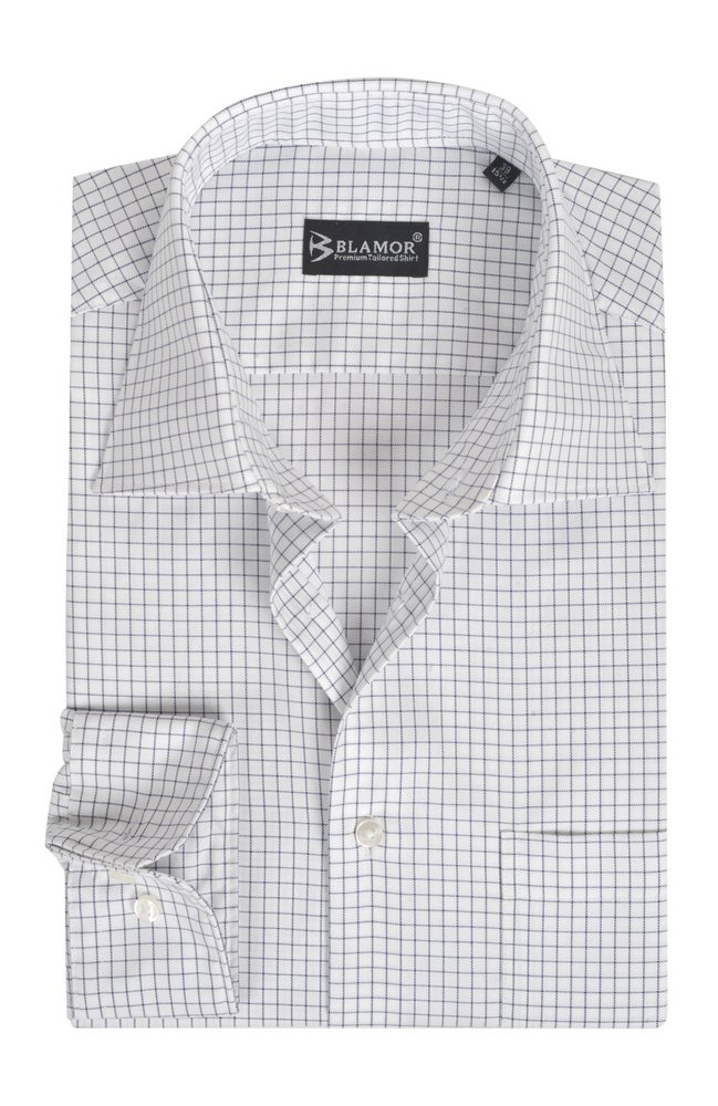 Regular Fit Dark Blue Thin Check Shirt