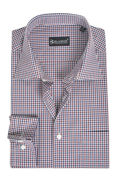 Regular Fit Red Blue Small Check Shirt