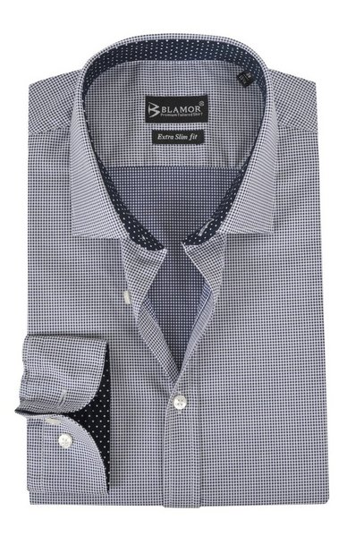 Extra Slim Fit Dark Blue Dogtooth Shirt - blue-39-Extra slim-Button cuf-Cutaway-Other