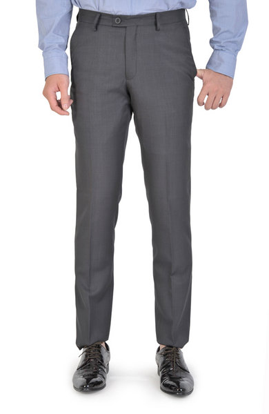 Gray Basic Slim Fit Trousers