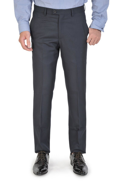 Navy Wool Basic Slim Fit Trousers