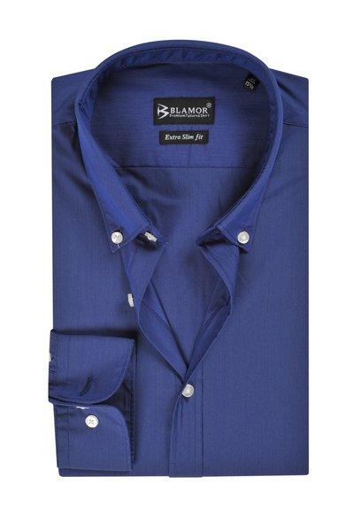 Extra Slim Fit Plain Klein Blue Poplin Button Down Shirt