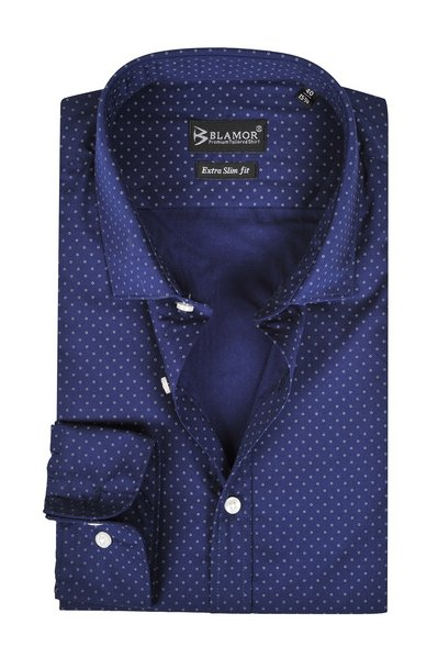 Extra Slim Fit Navy Small Circle Print Shirt