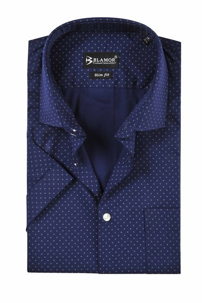 Slim Fit Navy Small Circle Short Sleeve Shirt