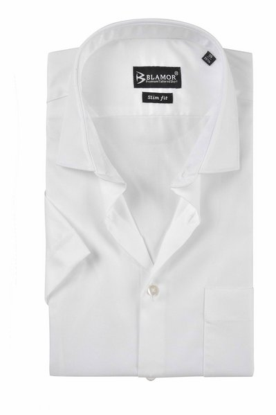 Slim Fit Plain White Short Sleeve Twill Shirt