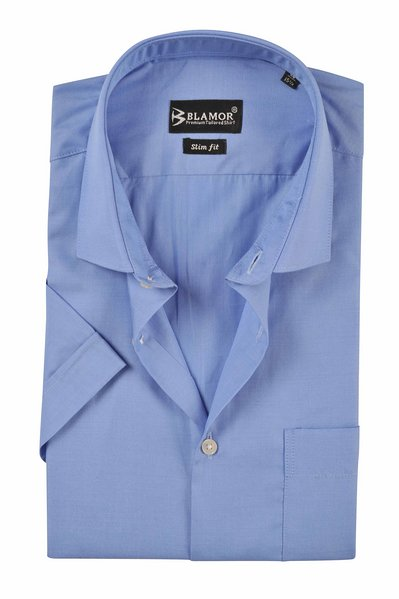 Slim Fit Plain Light Steel Blue Short Sleeve Twill Shirt