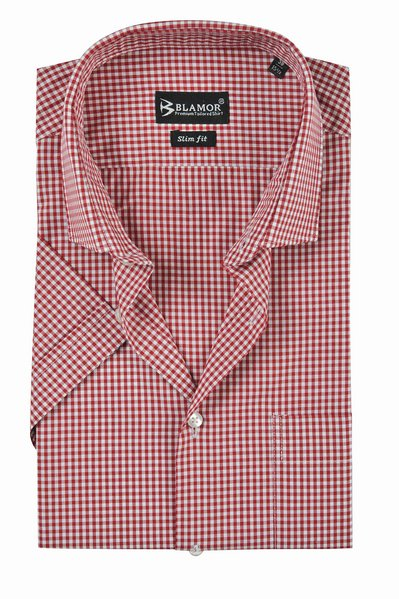 Slim Fit Red Small Check Short Sleeve Shirt