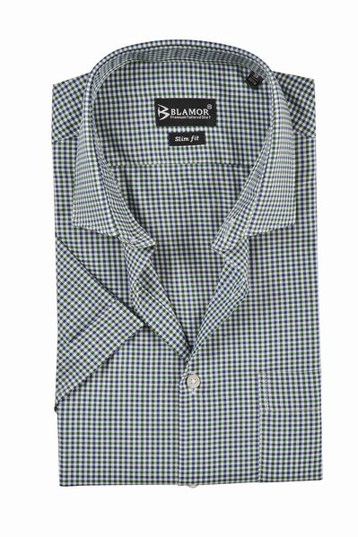 Slim Fit Navy Green Small Check Short Sleeve Shirt