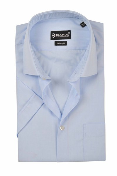 Slim Fit Plain Powder Blue Short Sleeve Twill Shirt