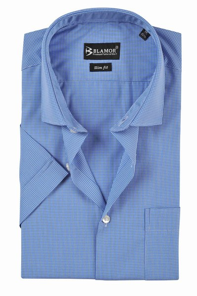 Slim Fit Blue Small Gingham Check Short Sleeve Shirt
