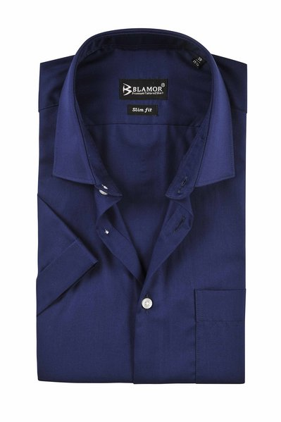 Slim Fit Plain Navy Short Sleeve Twill Shirt