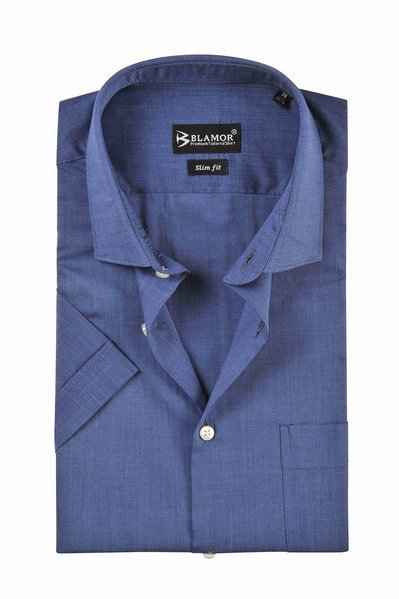 Slim Fit Plain Cerulean Blue Short Sleeve Shirt