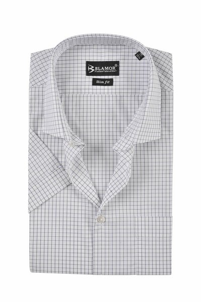 Slim Fit Navy Check Short Sleeve Shirt