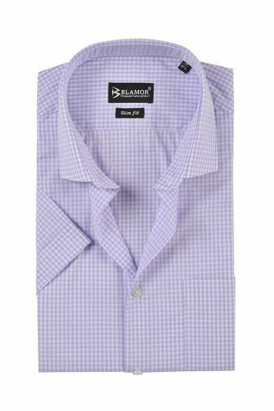 Slim Fit Lilac Small Gingham Check Short Sleeve Shirt