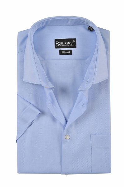 Slim Fit Plain Pale Cornflower Blue Short Sleeve Twill Shirt