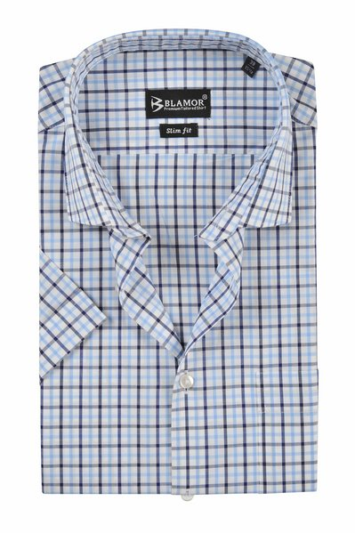Slim Fit Navy Light Sky Blue Check Short Sleeve Shirt
