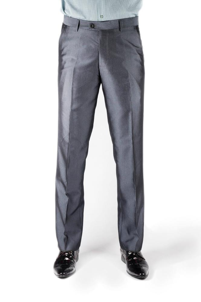 Light Gray Herringbone Regular Fit Trousers