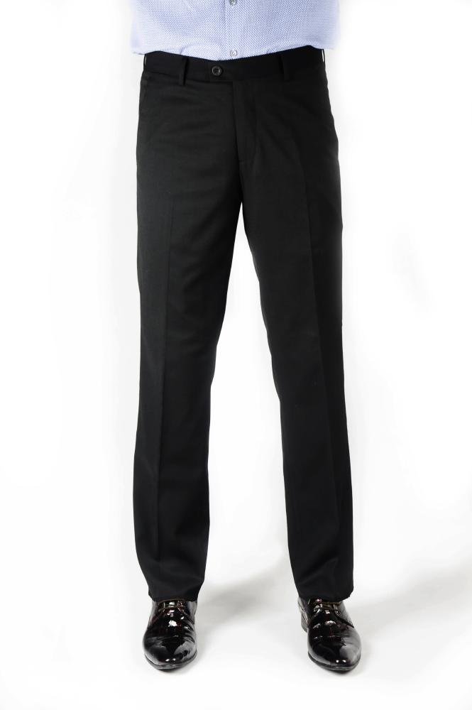 Black Wool Regular Fit Trousers