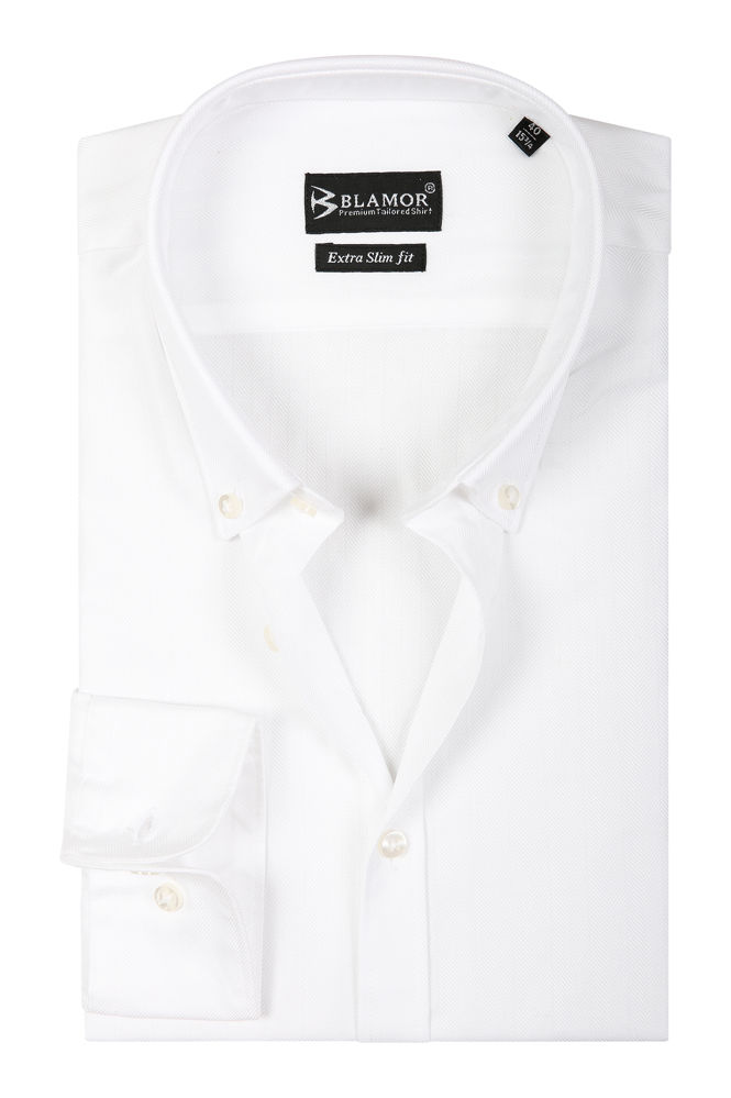 Extra Slim Fit Plain White Herringbone Button Down Shirt