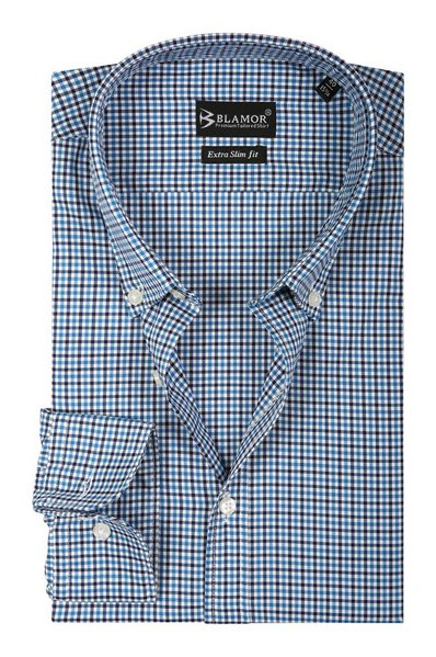 Extra Slim Fit Navy Blue Small Check Twill Button Down Shirt