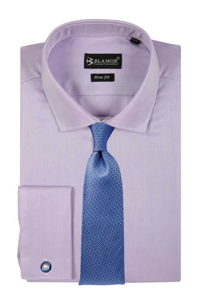 Slim Fit Lilac Double Cuff Herringbone Shirt