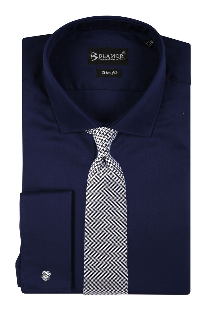 Slim Fit Navy Double Cuff Twill Shirt