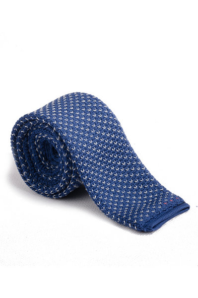 Cerulean Blue Mini White V Knitted Tie