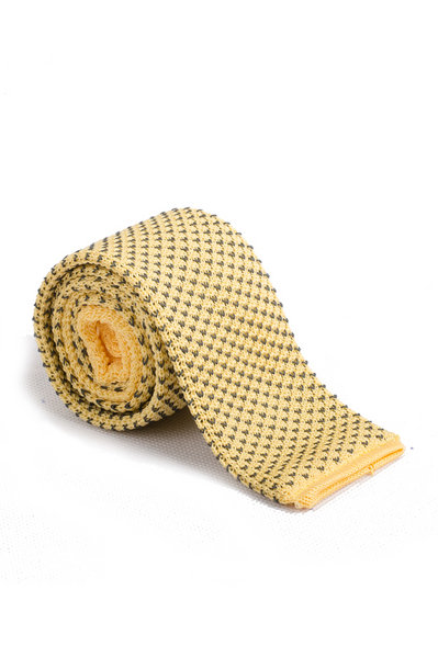 Peach Yellow Mini Gray V Knitted Tie